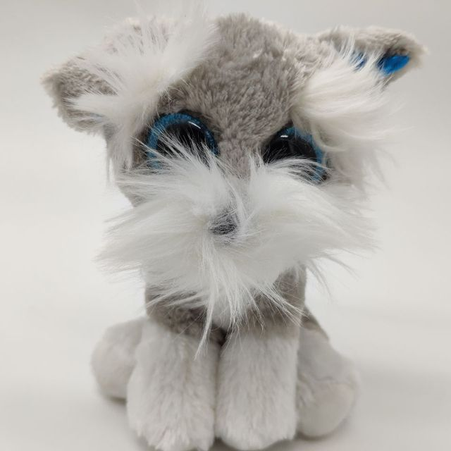 1dfd51c0e6d 1PC 15CM Big Eye WHISKERS Grey Schnauzer with heart tag and label DOG TY  BEANIE BABIES Plush Toys Stuffed animals KIDS TOYS
