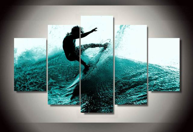 5 Pieces Canvas Prints Ocean Man Surfing painting Wall Art Panels ...