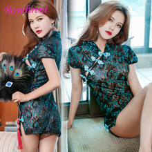 Exotic Apparel Sexy Lingerie Sexy Temptation Lace Perspective Dress Chinese Style Peacock Cheongsam Dress Babydolls & Chemises sexy temptation cardigan perspective nylon spandex sexy lingerie blue