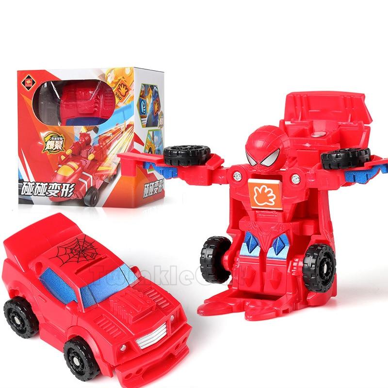Young Collision Deformation anime figure Robot Toys Car SpiderMan Iron Man America captain Mini deformation Children Toys Car