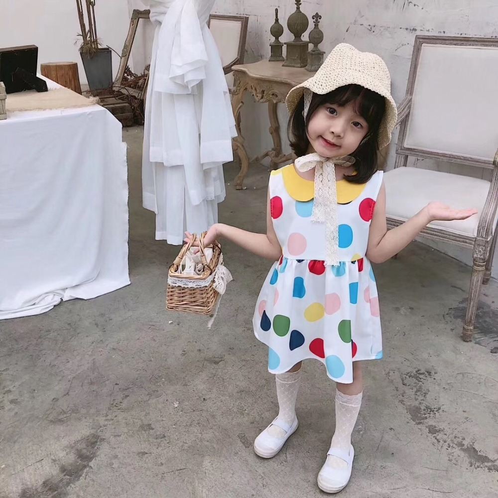 girls dress vintage style candy colour sleeveless summer