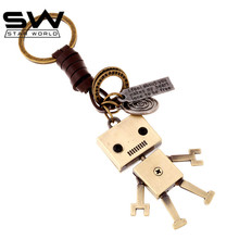 STARWORLD Hand weaving leather key ring  active alloy robots Creative leather key chain for men women fashion accessories