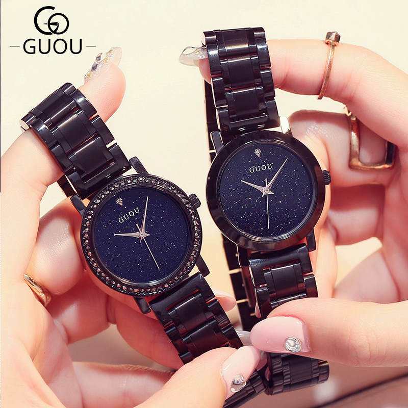 Luxury Brand Full Steel Crystal Glitter Dial Black Bracelet Ladies Watch Casual Women Wristwatch Quartz Watch Relogio Feminino amica luxury crystal diamond blue shell dial womens quartz watch ladies watch