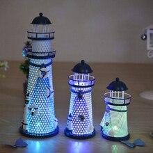 1 Piece Desk Decor Lighthouse Figurines Metal Craft Light House Beacon Home Decoration Maritime Navigation Night Light House