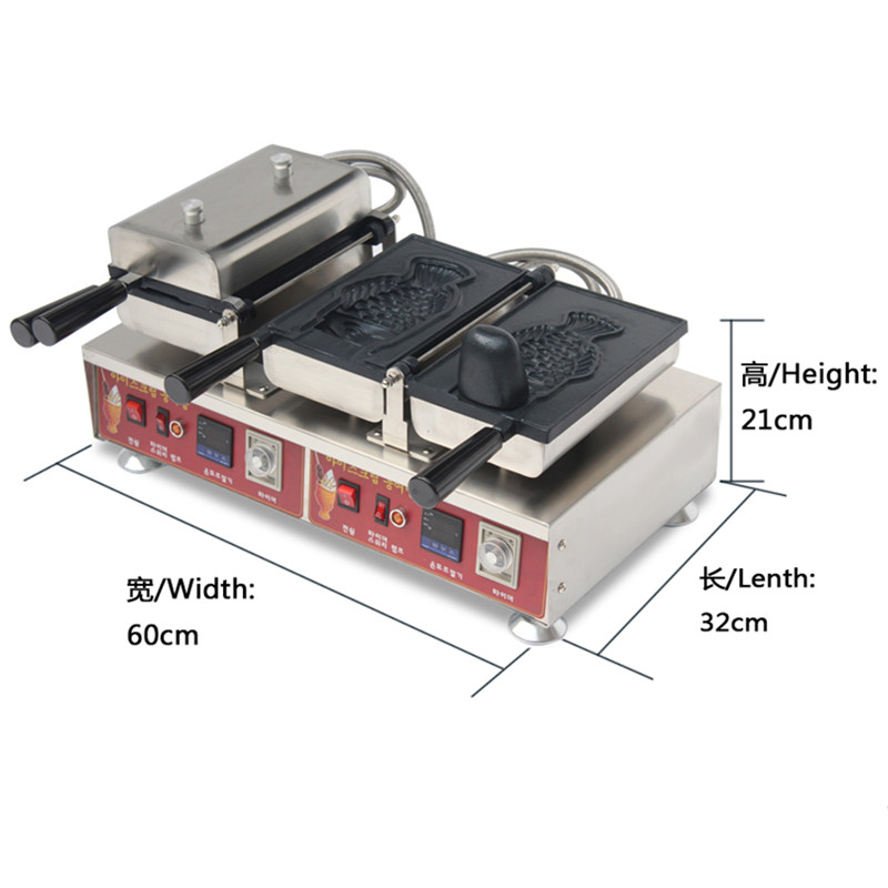 110V 220V Commercial Electric Taiyaki Waffle Maker Machine Deep Mouth Taiyaki Ice Cream Baker Machine 2pcs EU/AU/UK/US Plug digital taiwan taiyaki machine taiyaki waffle making machine