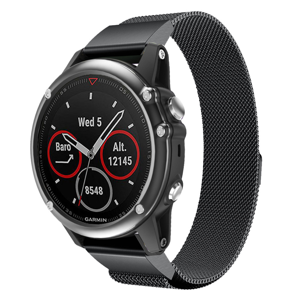 Milanese for Garmin Fenix 5X 5X Plus watch with quick release replacement magnetic ring metal wrist strap stainless steel strap in Watchbands from Watches