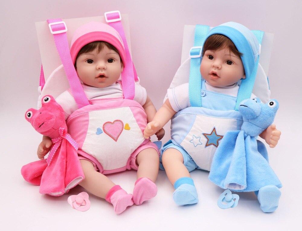 40 cm Silicone Reborn bébé poupée jouet vinyle bebe vivant jumeaux bleu/rose porte-bébé élingue bonecas jouet réaliste enfant cadeau d'anniversaire - 2