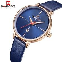 Для женщин наручные часы naviforce лучший бренд класса люкс Модные женские кварцевые часы женские кожаные Наручные часы водонепроница