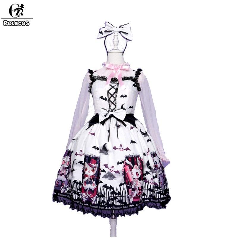 ROLECOS Doux Lolita Robe Pour Femmes Cimetière Carnaval Foncé Noir Chauve-Souris Cercueil Impression robe à bretelles Femelle jupe à bretelles Cadeaux