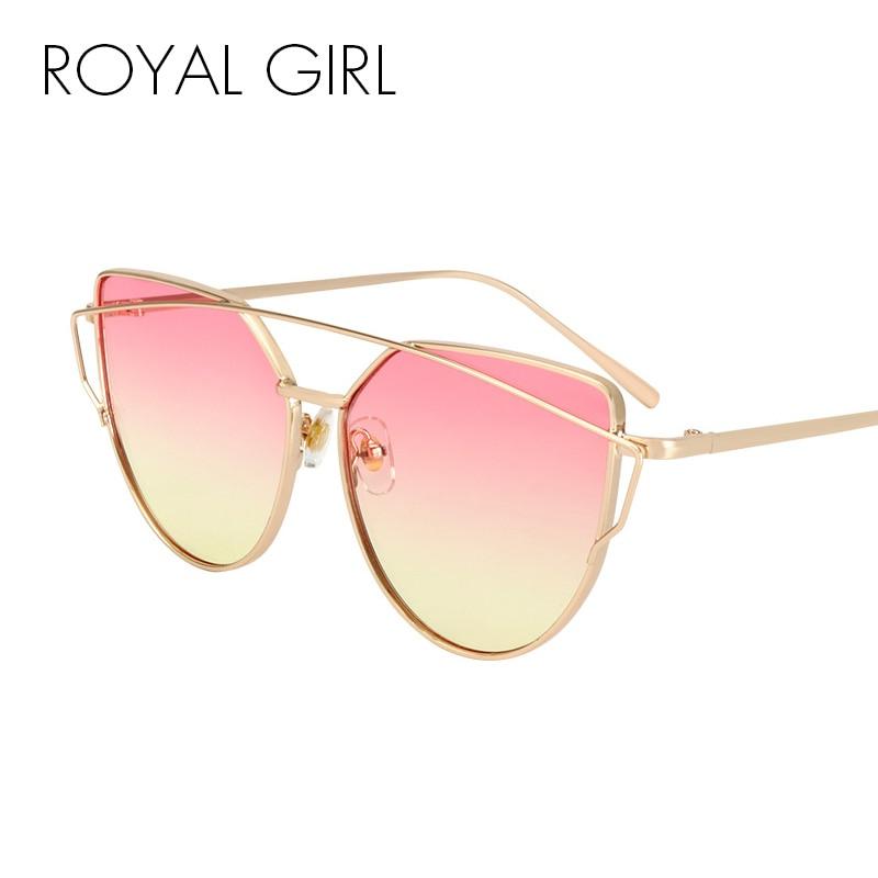 ROYAL GIRL მაღალი ხარისხის რთველი ქალთა სათვალე მეტალის ჩარჩო კატის თვალის მზის სათვალეები ქალი ვარდისფერი ყვითელი ჩრდილები Oculos UV400 ss720