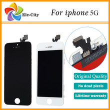 100% NO Dead Pixels Original For iphone 5G/5S/5C LCD Display Touch Screen Digitizer Assembly replacement Black/White