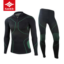 Santic Cycling Base Layers Men Winter Breathable Bike Bicycle Jersey Warm Thermal Road Sport Underwear Elastic Ropa Ciclismo