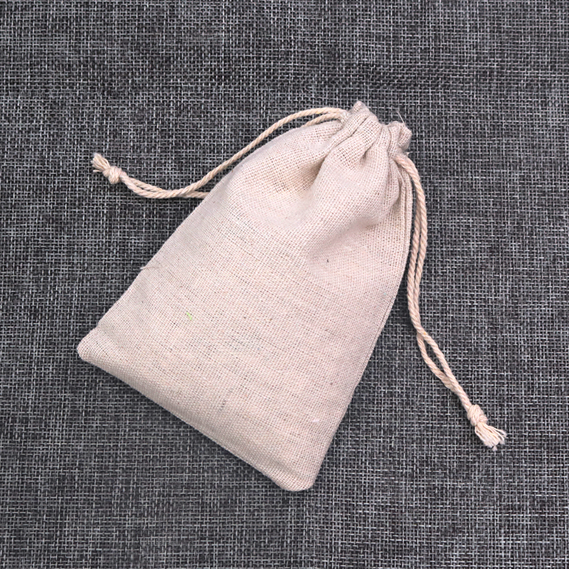Multi Size Natural Cotton Bags 100pcs/lot Linen Drawstring Gift Bag Muslin Pouch Bracelet Jewelry Candy Packaging Bags Wholesale