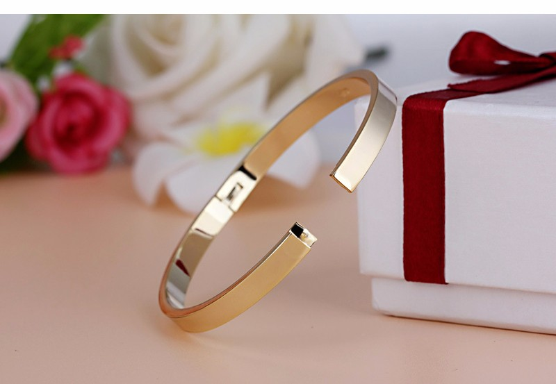 Luxury Lover Cuff Bracelets&Bangles Top Silver Color Brand Couples Simple Glaze Buckle Love Charm Bracelet For Women Or Men 6