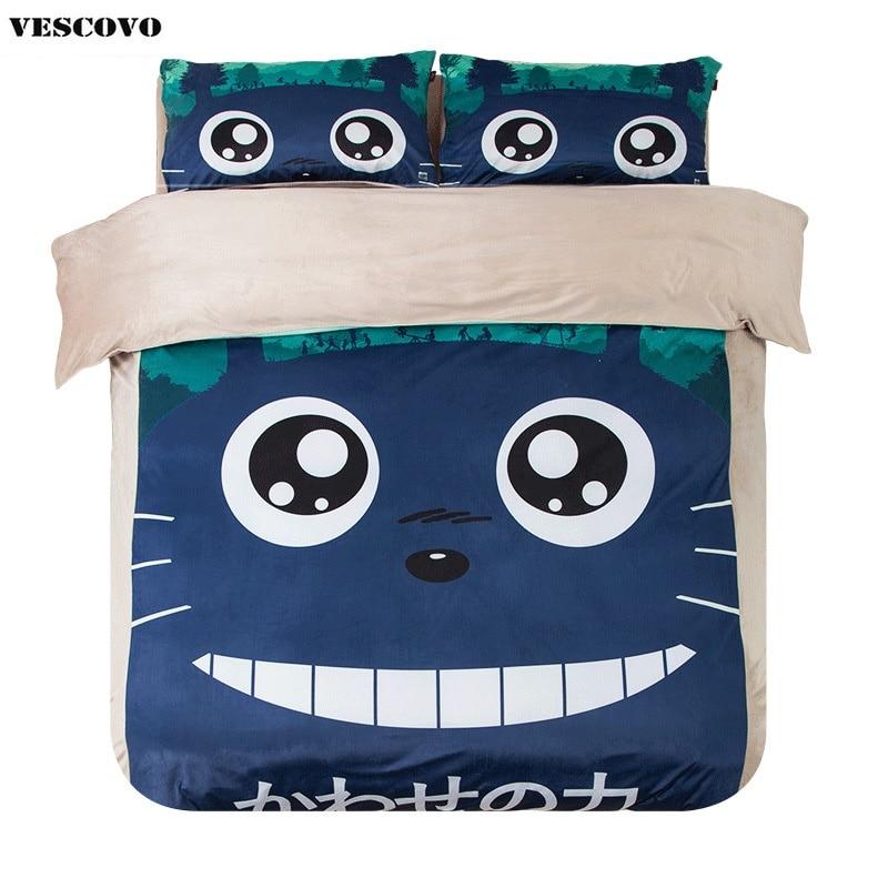 Cartoon Totoro print coral fleece duvet cover bed sheet pillowcase 4 pieces bedding set twin queen