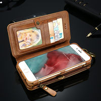FLOVEME For IPhone 7 6S 6 Plus Case Luxury Leather PU Waist Business Card Wallet Holder