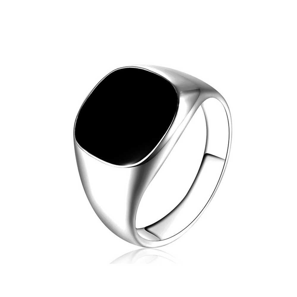 ผู้ชาย VINTAGE แหวนเงินทองชุบเคลือบสีดำแหวน Punk CLASSIC สีดำหยดเลียนแบบหินสีดำชายแหวนเครื่องประดับ