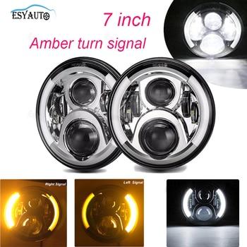 2PCS 7 inch LED Headlight with Side Halo Angel Eye Hi/lo Beam Headlight white DRL Yellow turning lamp for Jeep Wrangler JK