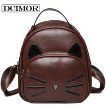 DCIMOR Design PU Leather Backpack Women Backpacks For Teenage Girls School Bags Lady's Small Vintage Cat Backpacks Travel Bags