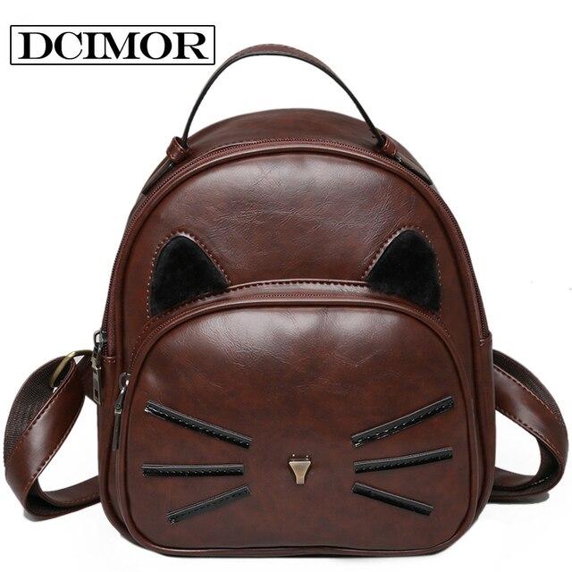 39fcd39a12823 DCIMOR Mochilas mujer 2018 حقيبة ظهر نسائية القط بو حقيبة ظهر مدرسية من  الجلد الإناث ل