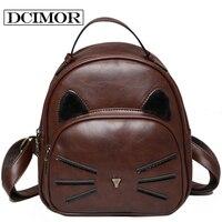 2016 High Quality Pu Backpacks Women School Bag Lovely Cat Backpack Ladies Retro Small Backpack Girl