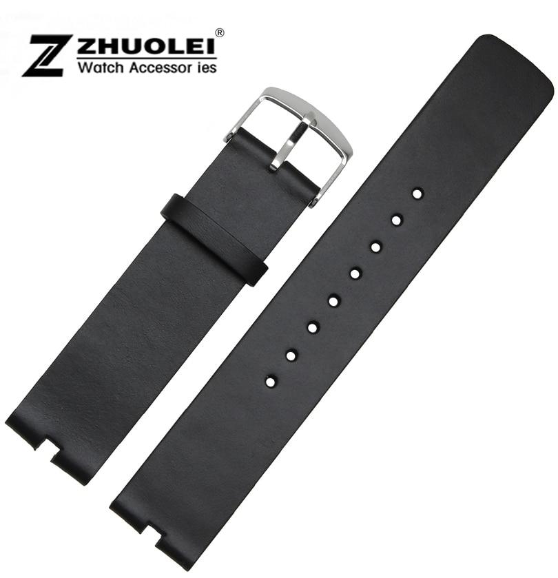bracelet 22mm noir lisse v ritable bande de montre en cuir. Black Bedroom Furniture Sets. Home Design Ideas