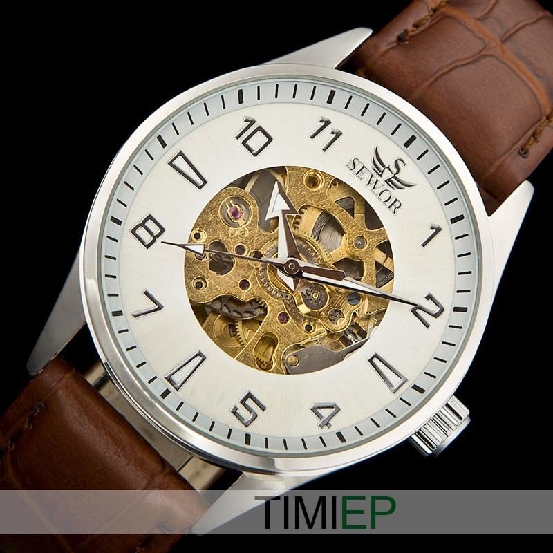 SEWOR Analog Men Fashion Brown Leather Skeleton Mechanical Sport Wrist Watch