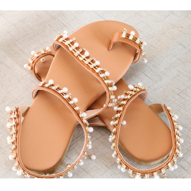 Women sandals summer shoes flat pearl sandals comfortable string bead slippers women casual sandals size 34 - 43 3