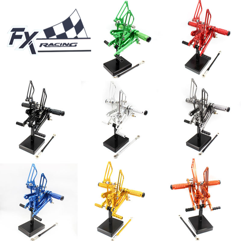 For Kawasaki Ninja ZX6R ZX636 ZX 6R 2009-2015 Aluminum Motorcycle Rearsets Rear Set Foot Pegs Pedal Footrest Moto Foot Peg maluokasa motorcycle aluminum engine stator cover for kawasaki zx 6r zx636 zx 636 2003 2004 moto crankcase replacement part zx6r