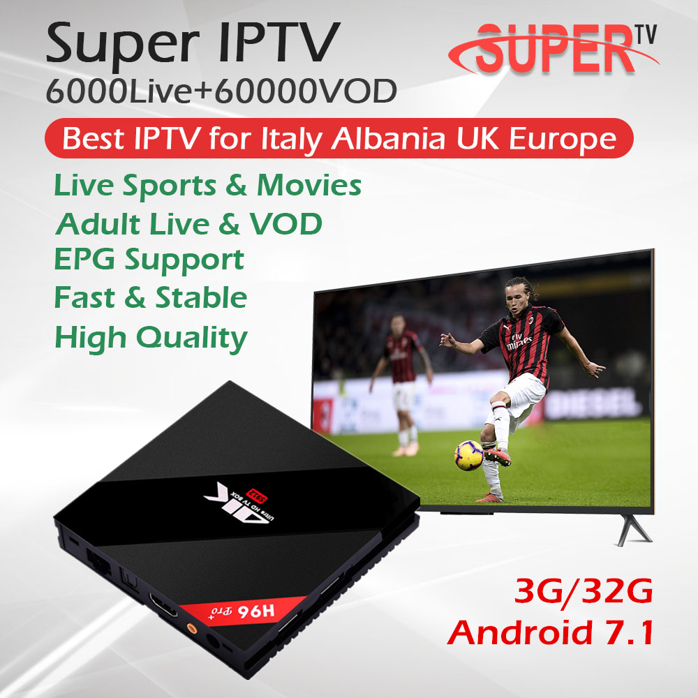 H96 Pro Android 7 1 TV Box Italy Portugal Spain Europe IPTV 6000Live 60000VOD Amlogic S912