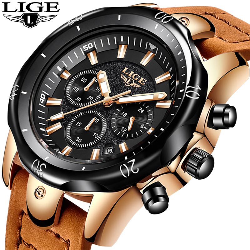 2018 LIGE Mens Watches Brand Luxury Gold Quartz Watch Men Casual Leather Military Waterproof Sport Wrist Watch Relogio Masculino2018 LIGE Mens Watches Brand Luxury Gold Quartz Watch Men Casual Leather Military Waterproof Sport Wrist Watch Relogio Masculino