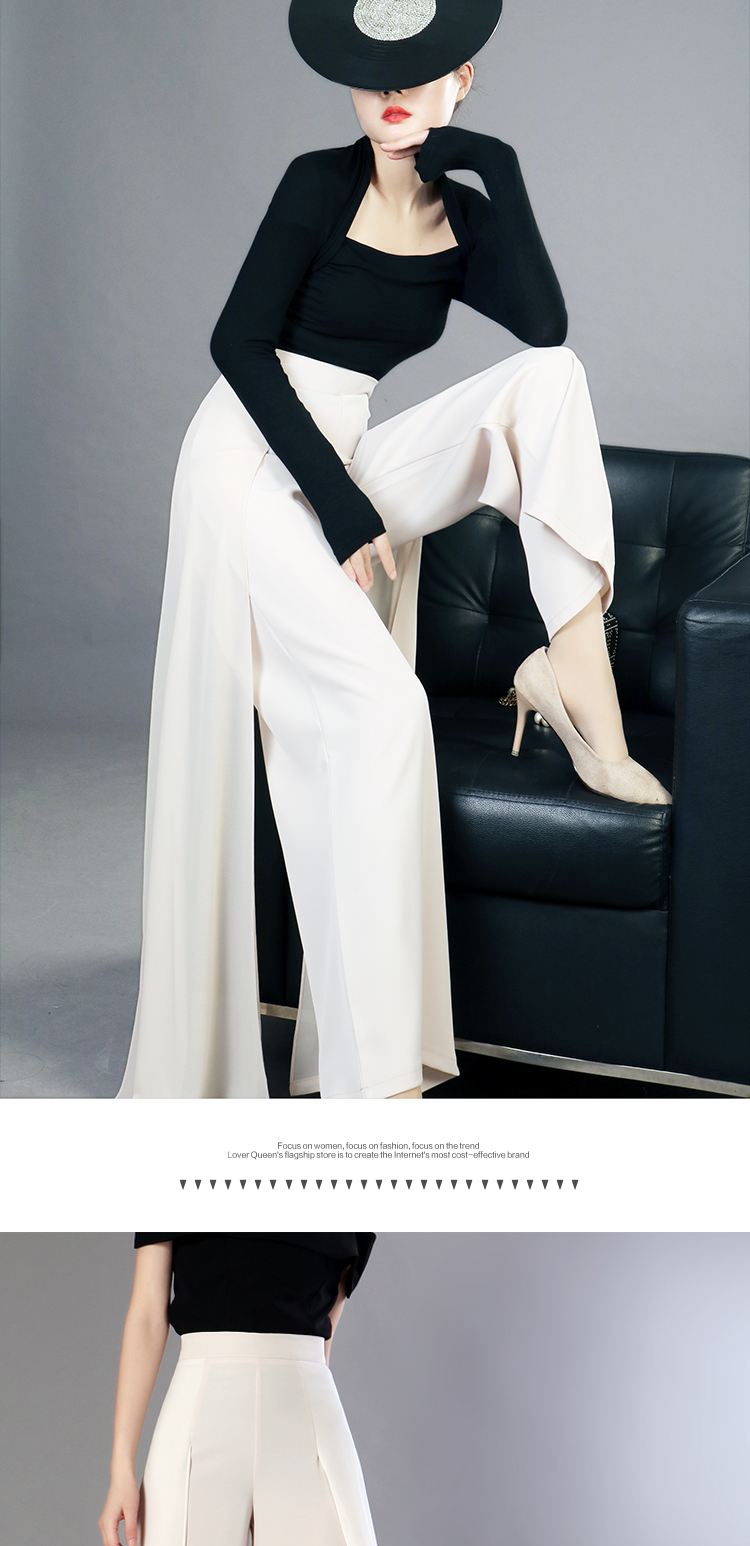 HTB1Fa.fMxTpK1RjSZFKq6y2wXXap - Elegant women summer Wide leg pants elastic high waist split chiffon trousers Casual streetwear fashion female palazzo PA003