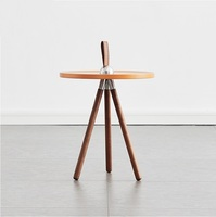 40cm High Small Coffee Table with Strap Handle / Solid Wood Feet / 40cm Round Tabletop made of Fiber Board