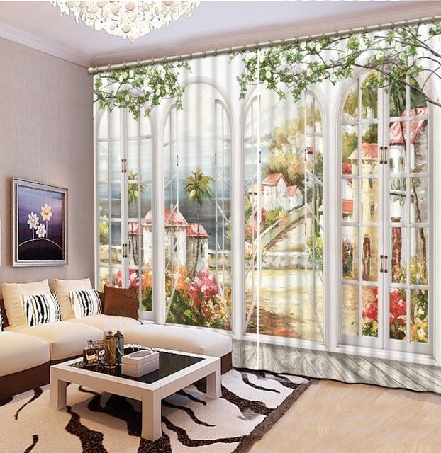 Moderne Vorhänge Für Wohnzimmer Malerei Blackout 3D Vorhänge Für Wohnzimmer  Schlafzimmer 3D Foto Vorhänge Dekoration