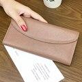 2017 бумажник женщины неподдельной кожи мода твердые кошелек сцепления женский стандартный hasp длинные кошельки карты держатель телефона