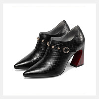 2019 прямые продажи с фабрики внутри и снаружи полный кожаный глубокий рот для женщин тонкие туфли модные открытые, на высоком каблуке
