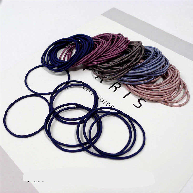 New Fashion 100pcs/lot 5CM Size Thin Elastic Rubber Bands Korean Style Basic Girl Women Headwear Hair Accessories Tie Gum
