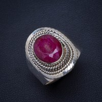 Natural Cherry Ruby Handmade Unique 925 Sterling Silver Ring 7.25 B1126
