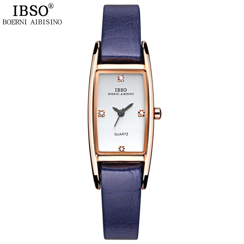 IBSO Women Watches 2018 Brand Genuine Leather Strap Quartz Watch Women Crystal Diamonds Ladies Watch Party Montre Femme