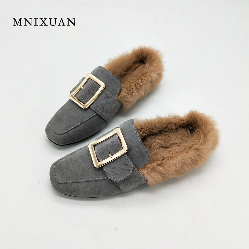 MNIXUAN Mules with fur shoes women 2017 winter new fashion genuine leather square toe casual solid ladies flats shoes big size40 mnixuan women shoes mules 2018 new