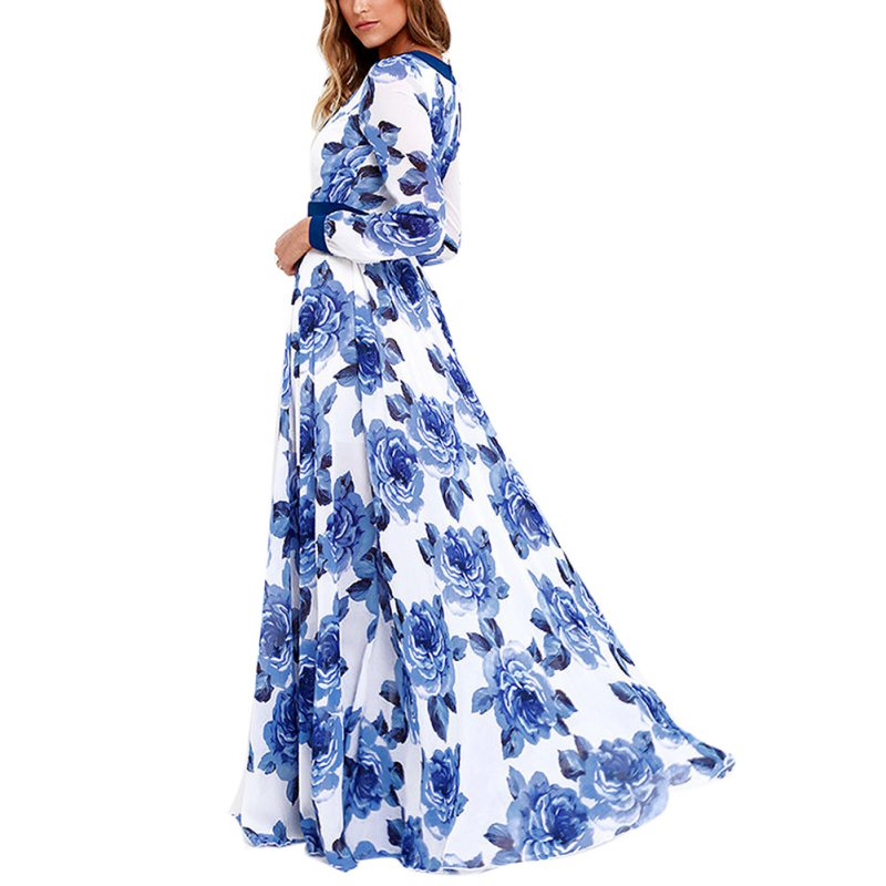 Vestidos BOHO Party Dresses Large Size Dress Woman Casual Deep V Long Evening Summer Beach Floral Dress Sundress