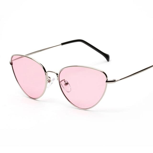 Cat Eye Women Sunglasses Tinted Color Lens Vintage Shaped Sun Glasses Women Eyewear 70s Luxe Red Female Sunglasses 2