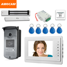 7″ Press Key Screen Video Door Phone Intercom System RFID Keyfobs + Power Controller + 180kg Electric Magnetic Lock+ Door Exit