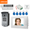 "7"" Touch Screen Video Door Phone Intercom 1 Monitor + RFID Access Camera Waterproof + 180kg Electric Magnetic Lock+ Door Exit"