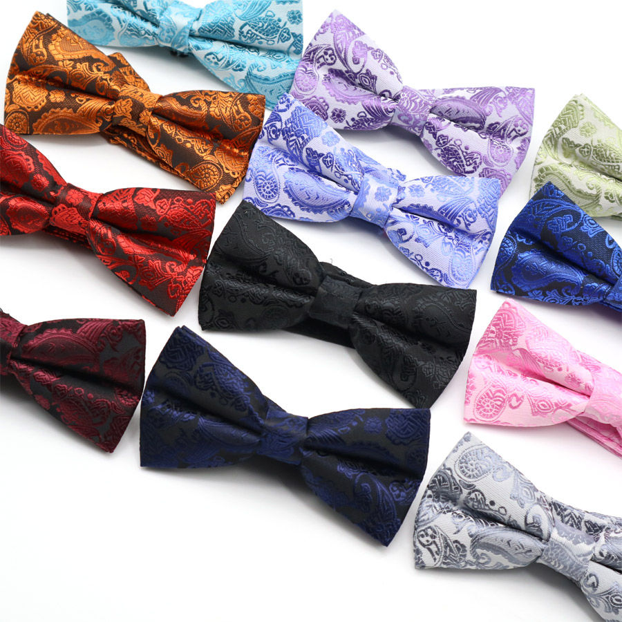 Hot Men's Polyester Silk Bow Ties Adjustable Man Bowtie Butterflies Vintage Paisley Floral Tuxedo Party Wedding Butterfly Gift