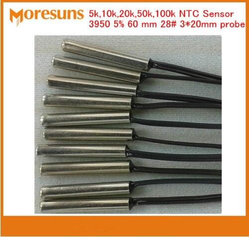 Fast Free Ship 100pcs/lot NTC thermistor temperature sensor 5k,10k,20k,50k,100k 3950 5% 60 mm 28# 3*20 NTC Sensor Custom Sensor
