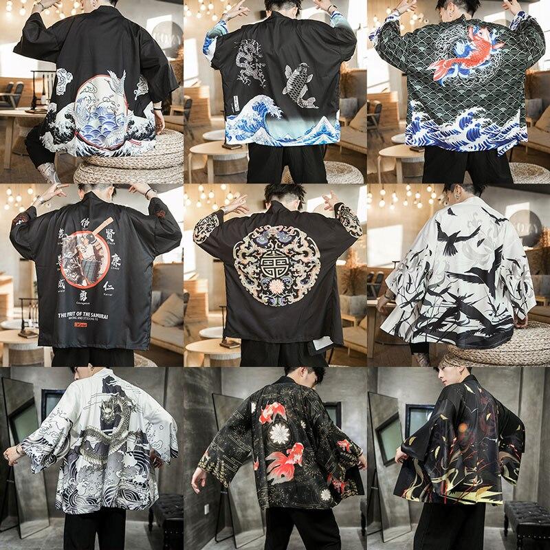 Sinicism Store Summer Men Style Jackets Man 2019 Casual Kimono Streetwear Mens Jackets Print Male Fashion Open Stitch Jacket 5XL