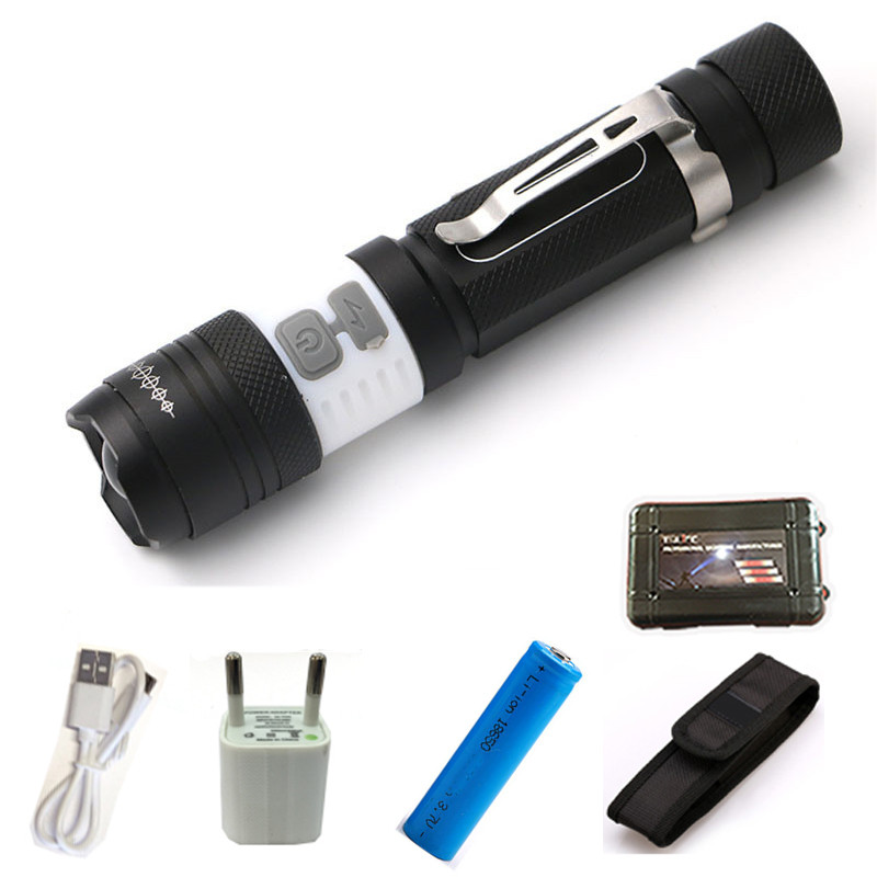 Powerful LED CREE XML T6 USB Flashlight Torch Waterproof Flash Light portable Light Rechargeable Lantern for 1*18650 Battery sheng yu 20 f