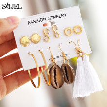 SMJEL Fashion Geometric Circle Stud Earrings For Women Bohemian Shell Long Tassel Handmade Female Ear Jewelry