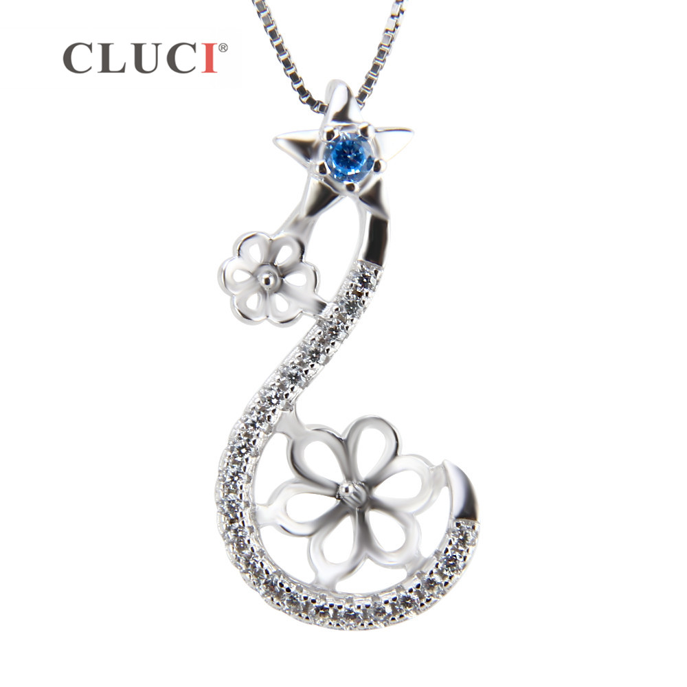 CLUCI Luxury Flower and Star Pendant Necklace made of 925 sterling silver and 21 zircons Pearl Pendant accessory for girls/womenCLUCI Luxury Flower and Star Pendant Necklace made of 925 sterling silver and 21 zircons Pearl Pendant accessory for girls/women